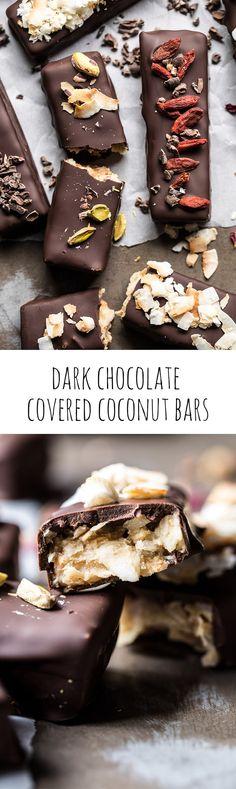 Dark Chocolate Covered Coconut Bars   halfbakedharvest.com @hbharvest #chocolate #healthy #coconut #vegan #glutenfree