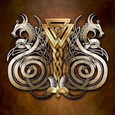 Norse Valknut Dragons **Like the knotwork in the middle** Art Viking, Viking Life, Viking Warrior, Viking Dragon, Celtic Dragon, Viking Runes, Norse Pagan, Norse Mythology, Vegvisir