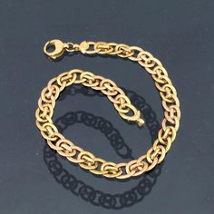 Vintage Italian Solid Yellow & Rose Gold Link Chain Bracelet 7 Length by on Etsy 18k Gold Bracelet, Vintage Italian, Yellow Roses, Gold Chains, Solid Gold, Rose Gold, Jewels, Unique Jewelry, Bracelets