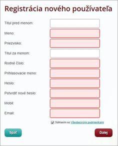 Registrácia nového používateľa
