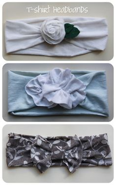 t-shirt headbands.Have lots of old T-shirts in that donate pile from spring cleaning? This is a great way to use those old shirts! Just cut a strip to the desired width, create the flower/bow, and then sew/hot glue together. Do It Yourself Mode, Do It Yourself Fashion, Diy Fashion, Ideias Fashion, Couture Bb, Diy Accessoires, Barrettes, Hairbows, Diy Headband