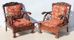 2 Vintage Carved Imbuia Ball and Claw Wagon Wheel Lounge Chairs with Back Cushions Condition:  Used  2 Vintage Carved Imbuia Ball and Claw Wagon Wheel Lounge Chairs with Back Cushions  size per chair: 850 L x 750 W x 910 H  R3999 for the two chairs  Cell 076 706 4700  Tel 021 - 558 7546  www.furnicape.co.za  0426