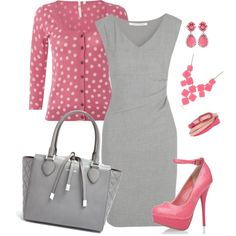 """Pink and Gray"" by alecias on Polyvore"