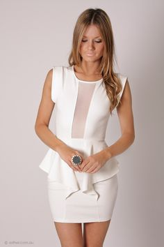 snowball cocktail dress- white with peplum perfect for rehearsal or bridal shower