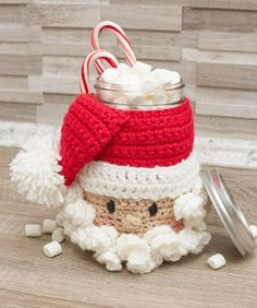 Santa Candy Jar - free crochet pattern by Michele Wilcox for Red Heart