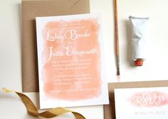 Peach Watercolor Wedding Invitations chic by SistersOfNature, $3.50