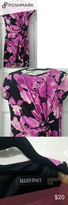 Price Drop! Spring Time Flower Ellen Tracy Dress Really pretty dress that's perfect for the office or a party.   Tie in front is flattering on the waist.   Zipper in back.  Very stretchy Ellen Tracy Dresses Midi