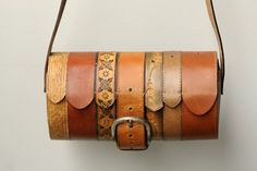 Upcyled leather belt handbag @ Ting, not sewn but can't make another board yet : )