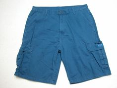 Mens Wrangler  Cargo Shorts Solid Blue  sz 38 100% Cotton ( Measure 38X10.5 )…