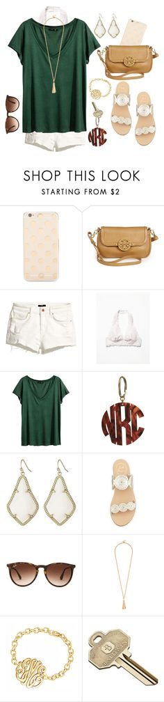 """Tortoiseshell, Bralettes, and Forest Green"" by theyoungprepster ❤ liked on Polyvore featuring Kate Spade, Tory Burch, H&M, Free People, Kendra Scott, Jack Rogers, Ray-Ban and Baldwin"