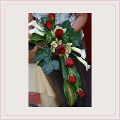 Wired Linear Rose Lily & Orchid Bouquet(idea)not my work