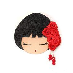 borche flores negro y rojo