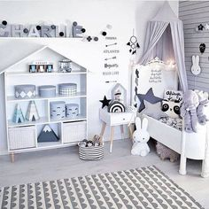 A gender neutral kids room with a whimsical monochrome design theme. A gender neutral kids room with a whimsical monochrome design theme. Toddler Rooms, Baby Boy Rooms, Baby Bedroom, Little Girl Rooms, Kids Bedroom, Kid Rooms, Room Kids, Bedroom Ideas, Nursery Room