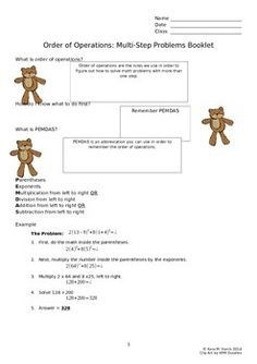 This booklet is a good extra help or homework item for students to review multi-step equations using PEMDAS.  Word (print only, not editable).  *Please note formatting is slightly different on product description than it appears.  Everything has been checked and properly formatted.