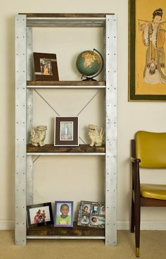 Industrial look shelving - paint sides metallic and shelves/cabinet fronts stained to match furniture