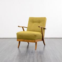 1950s armchair with wooden frame, reupholstered - Karlsruhe