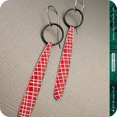 Long DripDrop Earrings in picnic blanket red. Upcycled tin jewelry.
