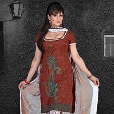 Brown Cotton Churidar Kameez