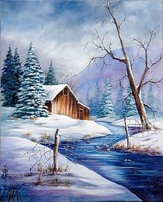 Artful Endeavors Gallery / Liz Miller CDA: Past Classes - esra bahadr - Winter Fashion Winter Painting, Winter Art, Painting Trees, Christmas Paintings, Christmas Art, Pinturas Bob Ross, Bob Ross Paintings, Winter Scenery, Winter Pictures