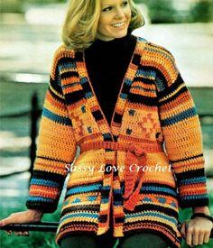 CROCHET Boho Aztec Jacket Wrap Sweater PATTERN  - Indian Pottery Pattern - PDF Download by SassyloveCrochet on Etsy