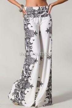Sexy Fold Over Waist Wide Leg Paisley White Black Tall Yoga Palazzo Pants s M L | eBay