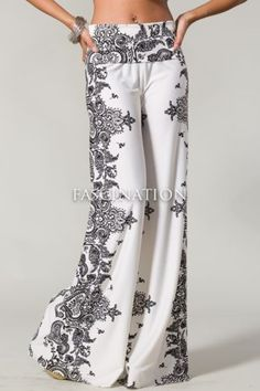 Sexy Fold Over Waist Wide Leg Paisley White Black Tall Yoga Palazzo Pants s M L | eBay