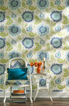 Jacobean Floral Wallpaper in Teal goes well with lime green and many shades of blue. The crisp white background looks great with bright white wood trim.