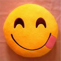 Emoji Hungry Emoticon Yellow Round Pillow -- PREORDER