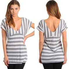 Charcoal & White Striped Short Sleeve, V-Back Top New with tags. Charcoal and white striped, short sleeve top featuring a scoop neck, V-back, and contrast color stripes. Available in size S, M, and L.                                                                                   63% polyester, 32% rayon, 5% lycra.                          Made in USA. Boutique Tops Blouses