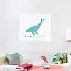 'Deep Dive Blue Whale' Tapestry by Christiaan Van Den Berg Tapestry Design, Wall Tapestry, Blue Whale, Textile Prints, Sell Your Art, All Print, Vivid Colors, Diving, Cool Designs