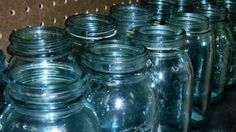 The famous Ball Blue canning jars, manufactured between 1890-1920 in Michigan City, Indiana.  The color comes from a very special sand dune, which no longer exists, next to Lake Michigan.