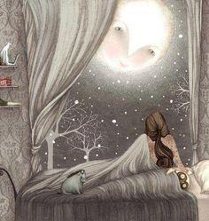 Peaking in, moon, her last goodbye. illustration by Lisa Evans. Art And Illustration, Lisa Evans, Good Night Moon, Night Time, Night Night, Night Owl, Dark Night, Moon Magic, Beautiful Moon