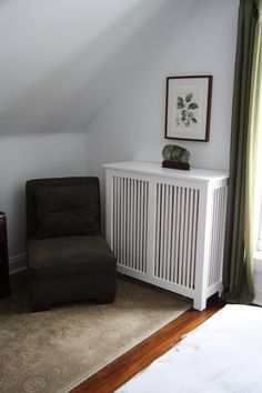 Our Shaker style radiator cover makes this little corner cozy!