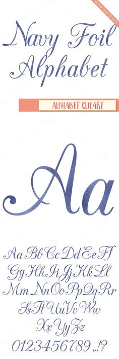 Navy foil alphabet clipart. Wedding Fonts. $4.00