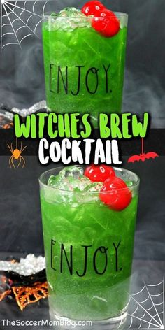 This bright green Witches Brew Drink is the perfect cocktail for Halloween! A delightful fruity flavor and shimmers like magic! It is easy to enjoy this festive drink during your Halloween party this year or for a spooky night are home! Make sure you make this delicious witch's brew cocktail this October! #halloween #drinkrecipes #recipes #cocktail #witchsbrew
