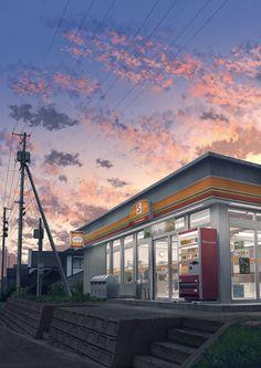 grafika anime scenery and convenience store