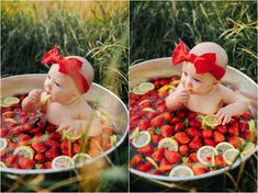 Baby Girl Fruit Strawberry Bath Baby Girl Fruit S Summer Baby Pictures, 6 Month Baby Picture Ideas, Baby Girl Pictures, Six Month Photos, 3 Month Old Baby Pictures, Milk Bath Photos, Bath Pictures, Milk Bath Photography, Baby Girl Photography
