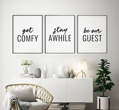 Get Comfy Stay Awhile Be Our Guest Printable Art, Set of 3 Wall Art, Guest Room Prints, Living Room Wall Art Signs *INSTANT DOWNLOAD* Printing Websites, Beauty Salon Decor, Vanity Room, Print Pictures, Printable Wall Art, Guest Room, Wall Art Prints, Comfy, Living Room