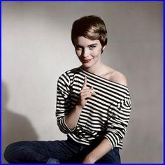 "fawnvelveteen: "" Portrait of Jean Seberg for Bonjour Tristesse directed by Otto Preminger, 1958 "" Jean Seberg, Jane Fonda, Beatnik Style, Claudia Cardinale, Boat Neck Tops, Glamour, French Chic, Style Vintage, Retro Style"