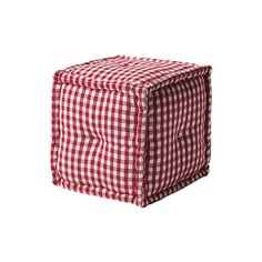 Square Gingham Pouf – Red | Serena & Lily