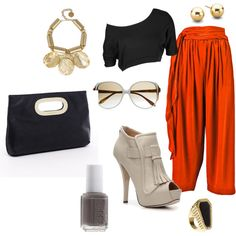 orange, black, and white, created by racheljanebaker.polyvore.com