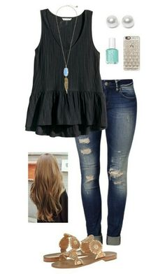 Endless summer. Black casual peplum, long necklace, blue nail polish, loose hair, jeans and sandals