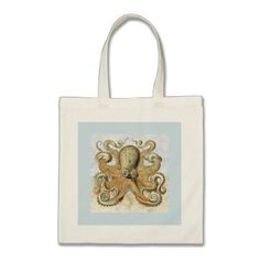 Retro Pale Blue & Yellow Octopus Print Tote Bag - vintage gifts retro ideas cyo