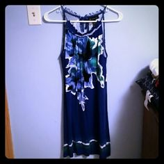 Navy floral sundress Very pretty floral sundress with navy color. Small tie straps for the shoulders. Size small from INC. Great condition! INC International Concepts Dresses Mini