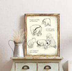 Classic Pooh, Pooh Nursery, Pooh Illustration, Pooh Drawing, Pooh Bear, Classic Pooh Print, Nursery Print, Nursery Decor, Eeyore Art Print Art Prints Quotes, Art Quotes, Nursery Prints, Nursery Decor, Childrens Wall Art, Pooh Bear, Eeyore, Creative Art, Baby Shower Gifts