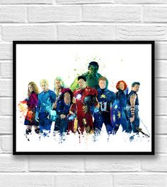 Avengers Watercolor Print, Superhero Poster, Hulk Iron Man Thor Captain America, Marvel Art, Wall Art, Home Decor, Kids Room Decor  This prints are reproductions of my artwork. I am full time artist from Europe. This is a high quality giclee print, kids poster. Printed on Archival Fine Art paper. In giclee printing, no screen or other mechanical devices are used and therefore there is no visible dot screen pattern. It has a museum quality appearance.  The print size is: 5 x 7. The price is…