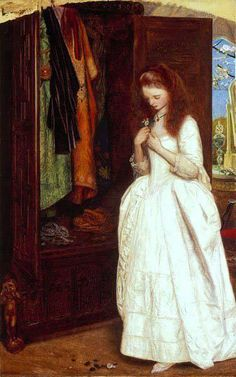 """Arthur Hughes, """"Beauty and the Beast"""".  A very lovely--and very young looking!--Beauty."""