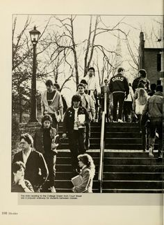 """Athena yearbook, 1984. """"The stairs leading to the College Green from Court Street are a popular walkway for students between classes."""" :: Ohio University Archives"""