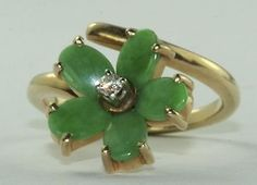 VINTAGE 14K GOLD MAW SIT SIT JADE DIAMOND FLOWER RING #FLOWER