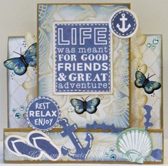 A step card By Kelly-ann Oosterbeek made using the Coastal Escape Collection from Kaisercraft. www.amothersart.com.au